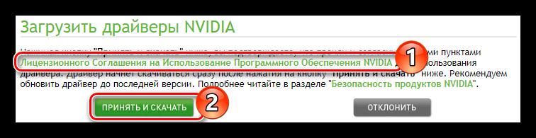 принятие лицензионного соглашения и начала загрузки драйвера nvidia geforce gtx 460 на официальном сайте поставщика
