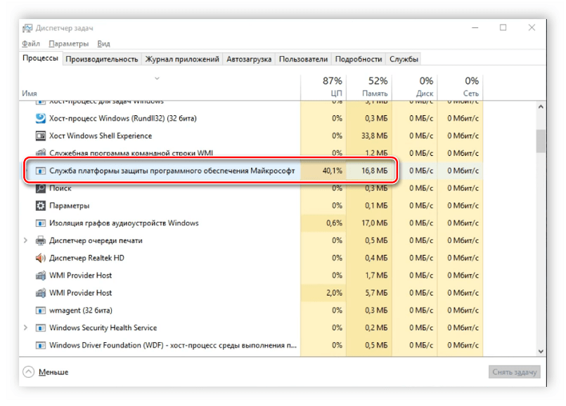 Cлужба платформы защиты программного обеспечения Windows 10