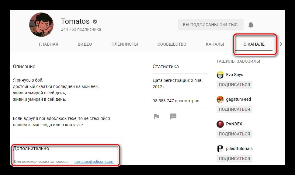Электронная почта для связи с пользователем YouTube