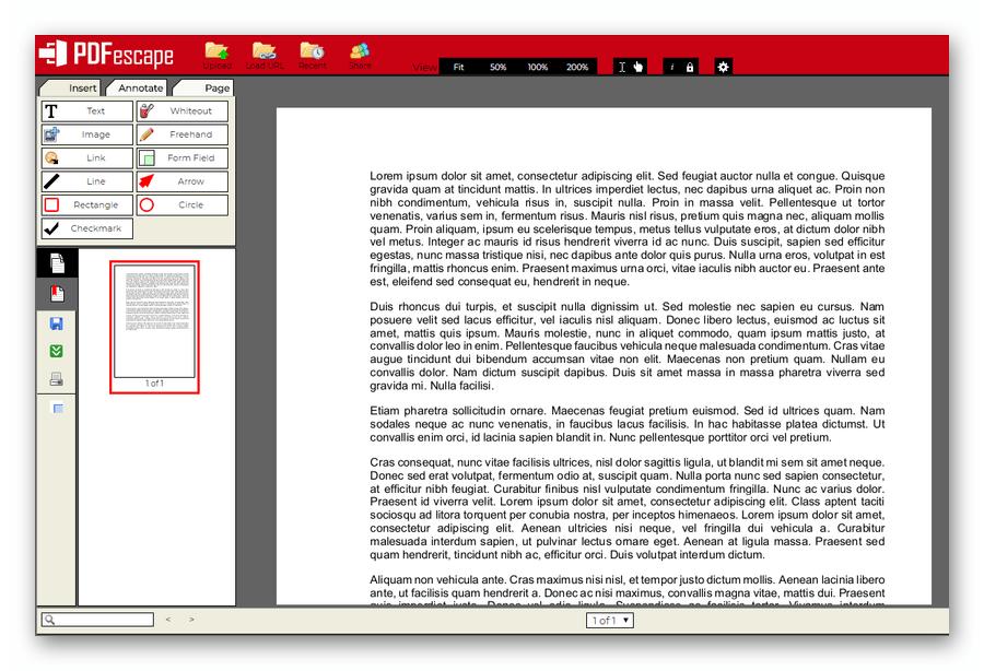 Интерфейс веб-сервиса для просмотра PDF-файлов PDFescape