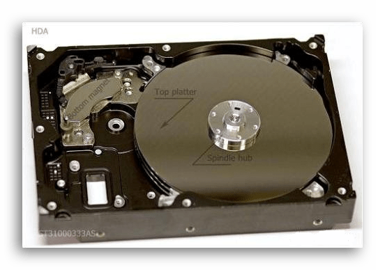 Нанизанные на шпиндель блины в HDD