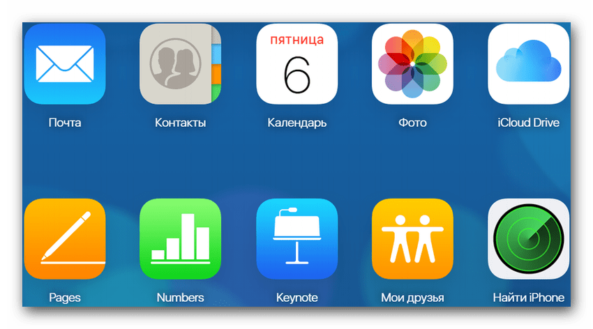 Некоторые возможности доступные при использовании iCloud через сайт