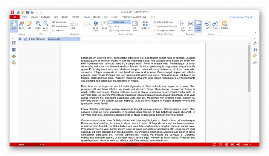 Открытый в онлайн-сервисе Soda PDF Online документ
