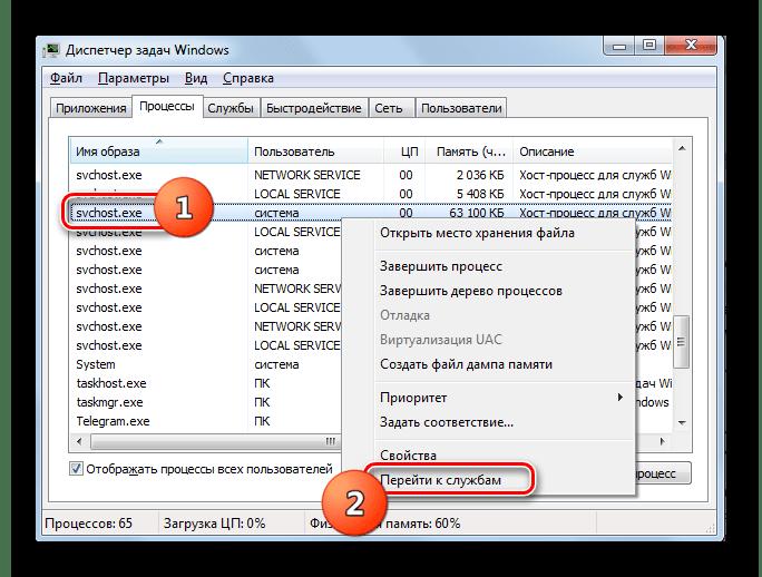 Переход в раздел Службы в Диспетчере задач в Windows 7