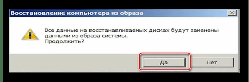 Подтверждение запуска восстановления системы из резервной копии в Windows 7