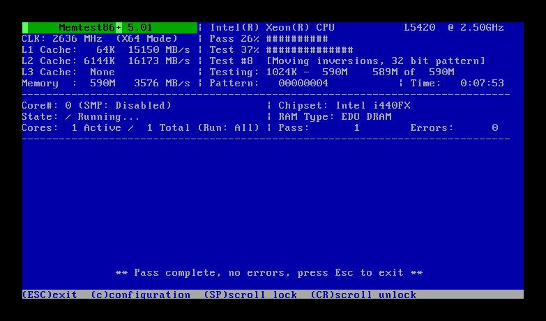 Программа для диагностики ошибок ОЗУ MemTest86+
