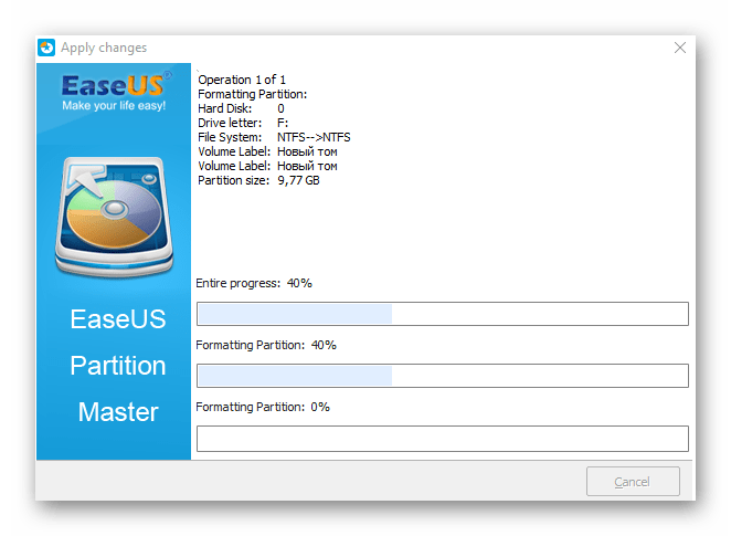 Процесс форматирования в EaseUS Partition Master