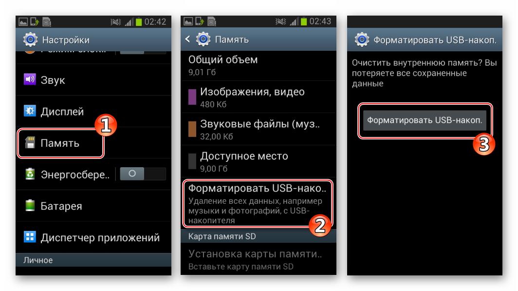 Самсунг Гэлэкси S 2 GT-I9100 форматирование внутреннего USB-накопителя в Андроид после переразметки