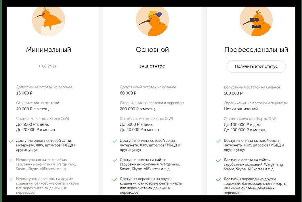 Статусы кошелька на QIWI Wallet