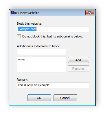 Ввод адреса сайта Any Weblock