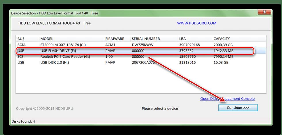 Выбор устройства для форматирования в HDD Low Level Format Tool