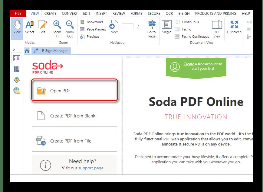 Загрузка PDF-документа в онлайн-сервис Soda PDF Online