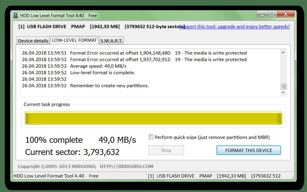 Завершение форматирования диска в HDD Low Level Format Tool