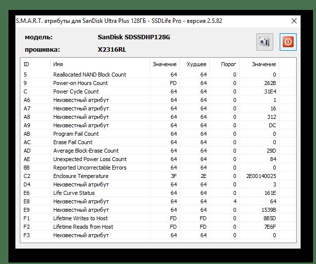 окно атрибутов смарт в SSDlife