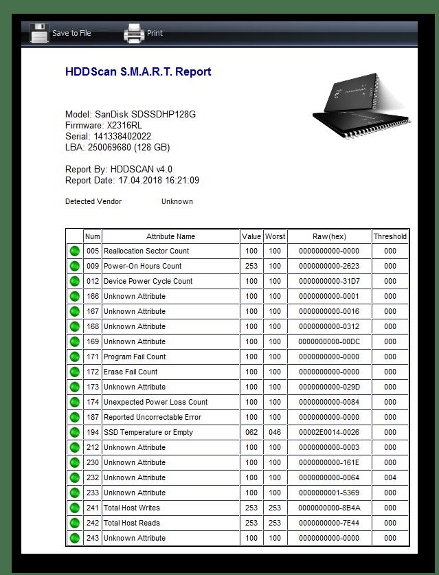 смарт диска в HDDScan