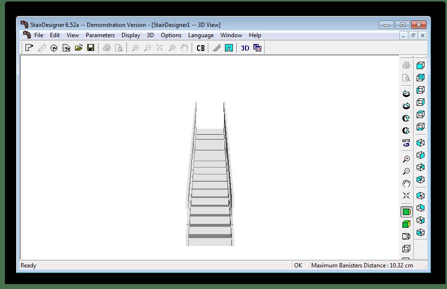 3D вид лестницы в программе StairDesigner