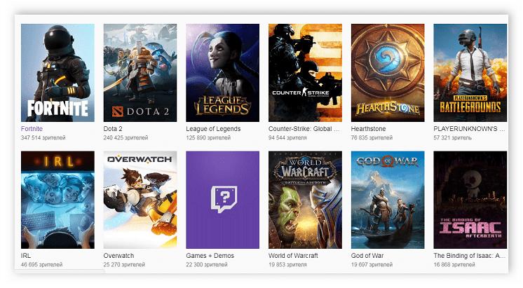 Библиотека популярных игр Twitch