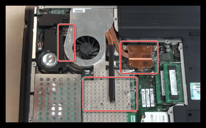 Демонтаж системы охлаждения для извлечения видеокарты из ноутбука