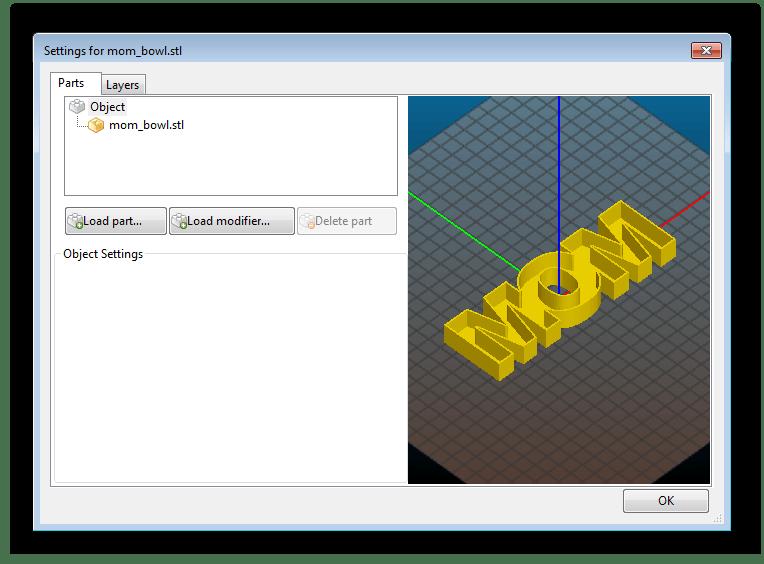 Добавление частей для модели в Slic3r
