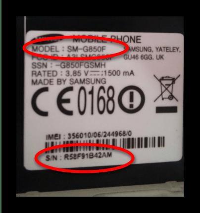 Модель и серийный номер, необходимые для восстановления прошивки в KIES