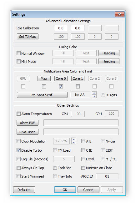 Настройки параметров программы RealTemp