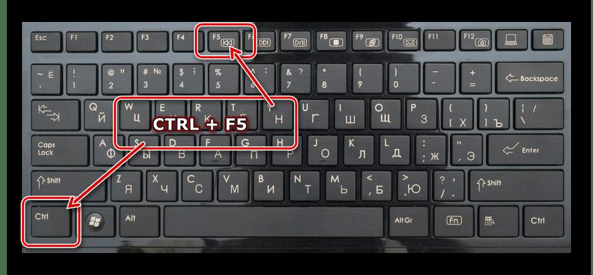 Нажатие сочетания клавиш ctrl и F5 на клавиатуре