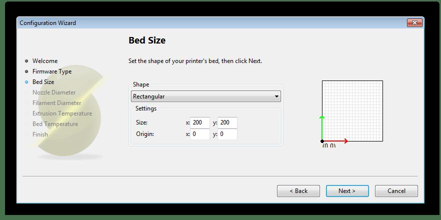 Обозначение размеров стола в программе Slic3r