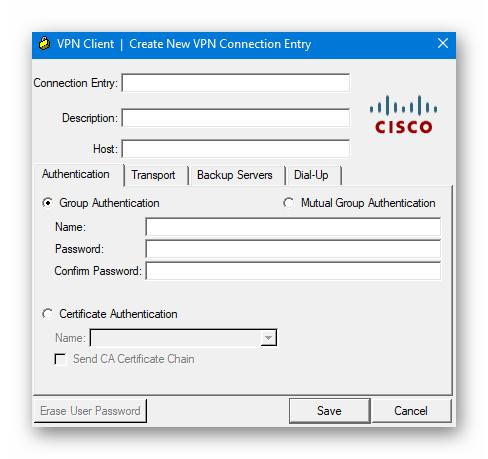Окно настроек подключения Cisco VPN