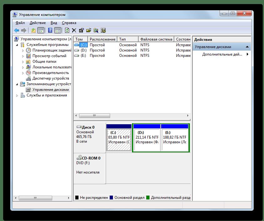 Окно утилиты Управление дисками в Windows 7