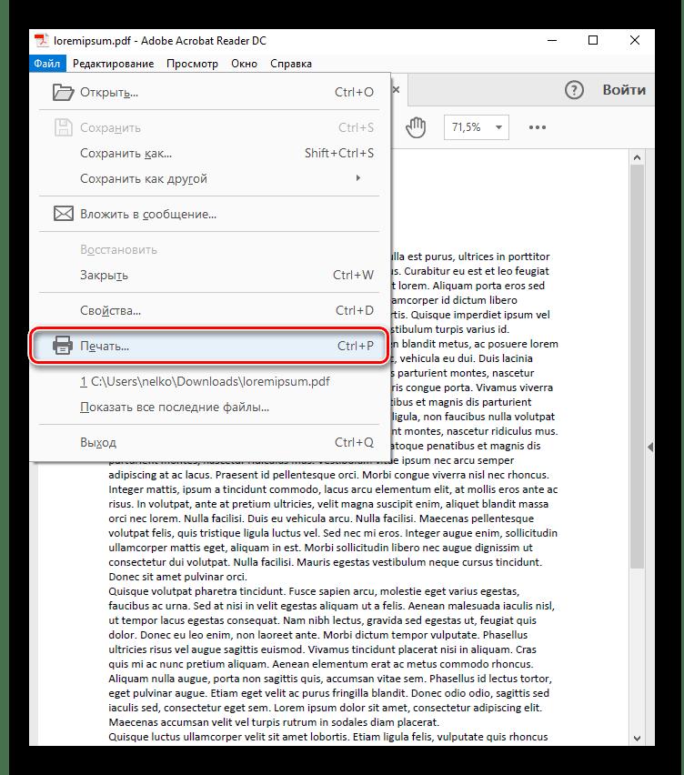 Открытие меню печати в Adobe Acrobat Pro DC