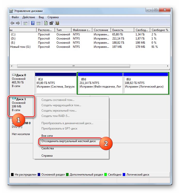 Переход к отсоединению виртуального жесткого диска в окне управления дисками в Windows 7