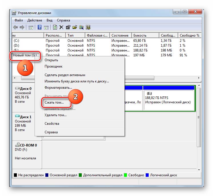 Переход к сжатию тома в окне управления дисками в Windows 7