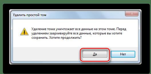 Подтверждение удаления тома в диалоговом окне в Windows 7