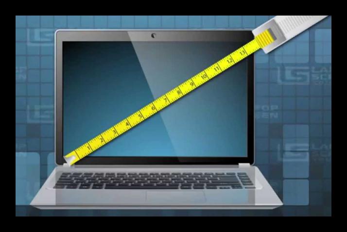 Ручное измерение диагонали экрана ноутбука