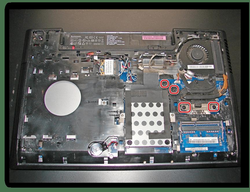 Снятие системы охлаждения на ноутбуке Lenovo G500