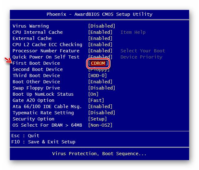 Указание CDROM первым загрузлчным носителем в разделе Advanced BIOS Features в BIOS от Phoenix-Award