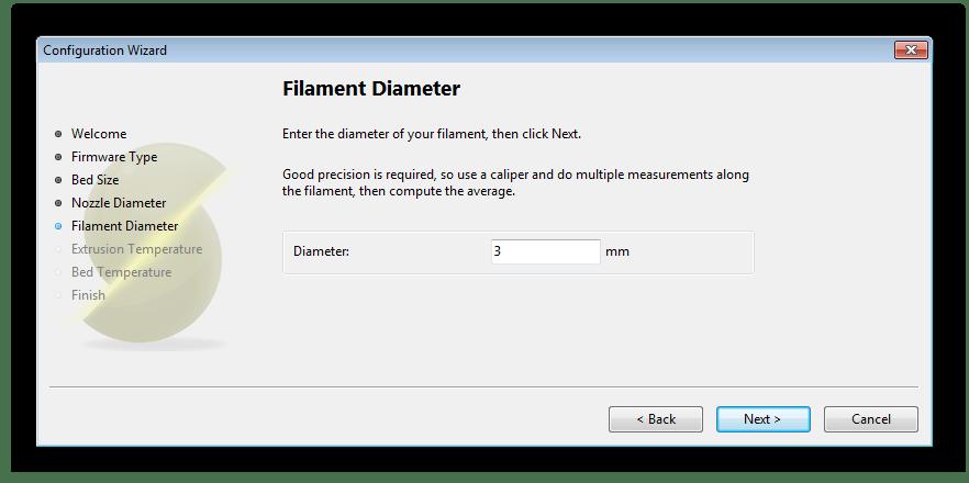 Ввод диаметра пластиковой нити в программе Slic3r