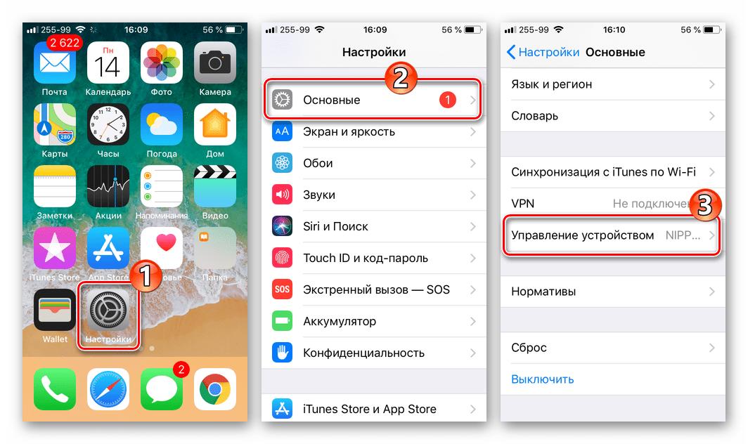 WhatsApp для iPhone Настройки - Основные - Управление ус-вом для установки сертификата
