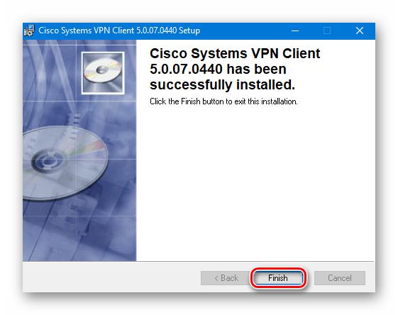 Завершение установки Cisco VPN на Windows 10