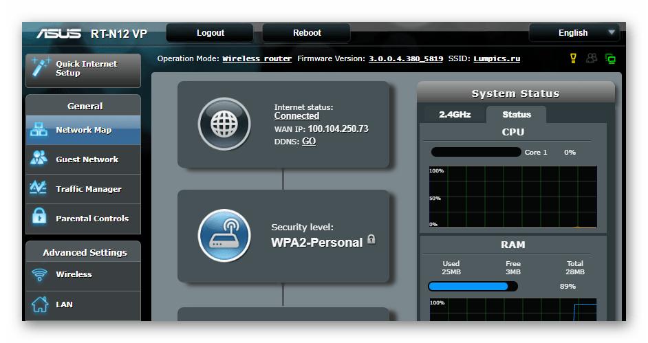 ASUS RT-N12 VP B1 веб-интерфейс роутера ASUSWRT