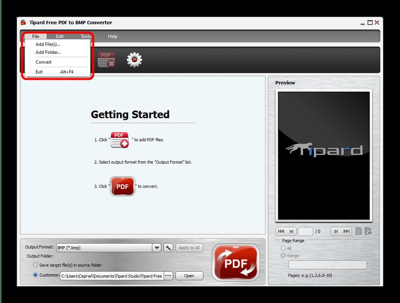 Добавить ПДФ-файл для преобразования в Tipard PDF to BMP Converter