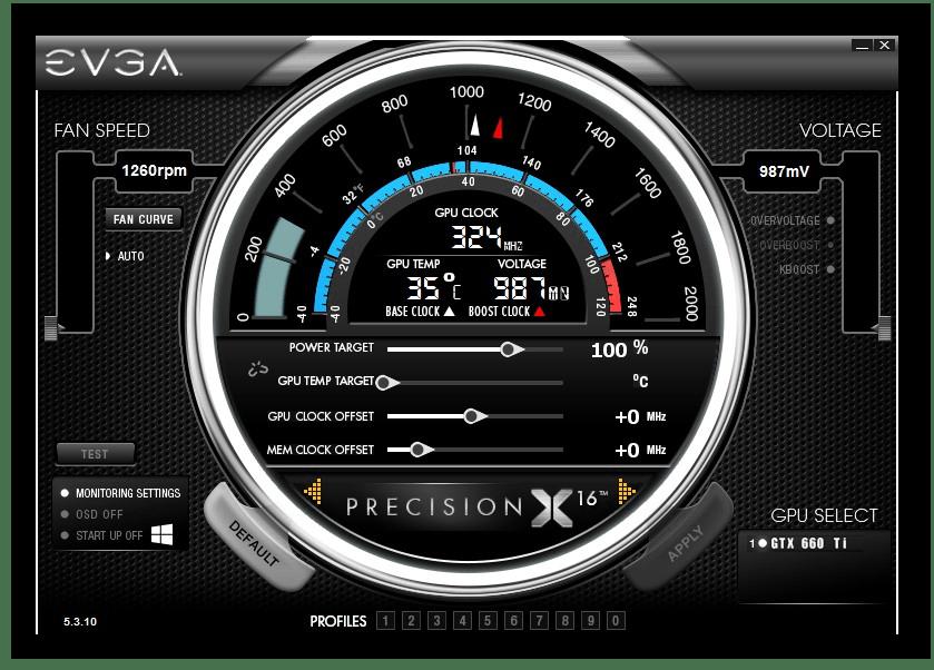 Главное окно программы EVGA Precision X