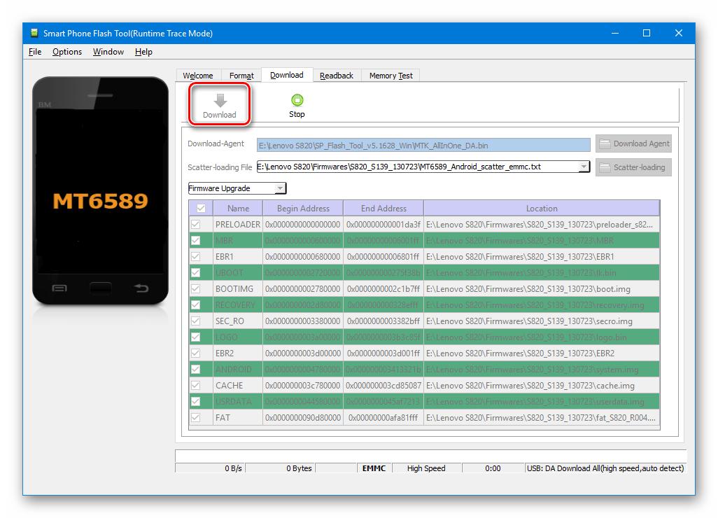 Lenovo S820 SP Flash Tool режим ожидания подключения девайса для прошивки