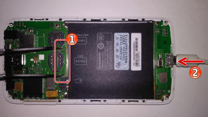 Lenovo S820 раскирпичивание замкнуть точки SCLK и GND, затем подключить кабель