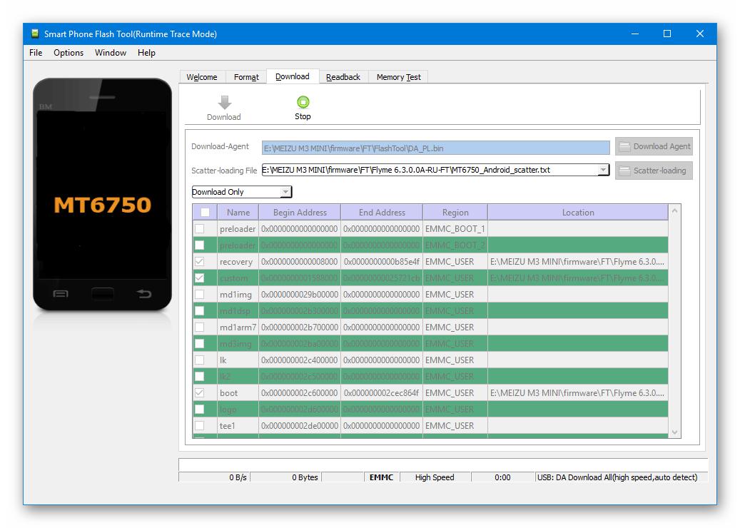 Meizu M3 Mini SP Flash Tool подключение смартфона к ПК для прошивки или раскирпичивания