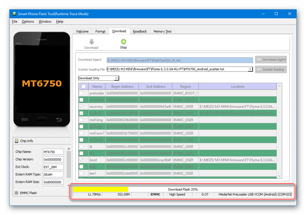 Meizu M3 Mini SP Flash Tool процесс прошивки, раскирпичивания через приложение