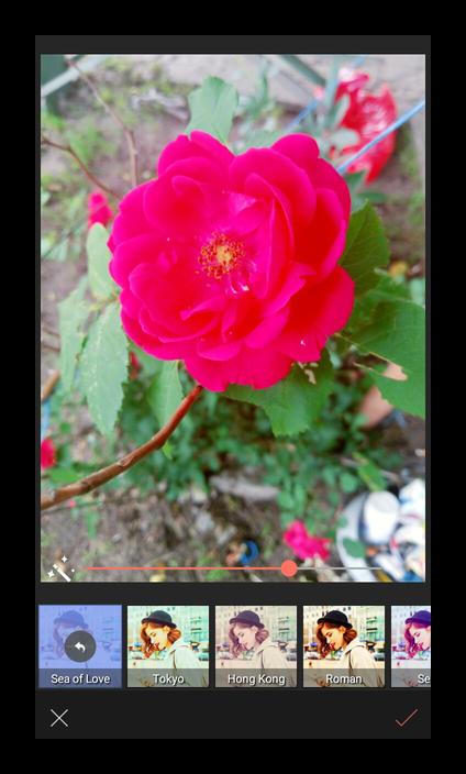 Наложение эффектов при редактировании фото в Selfie
