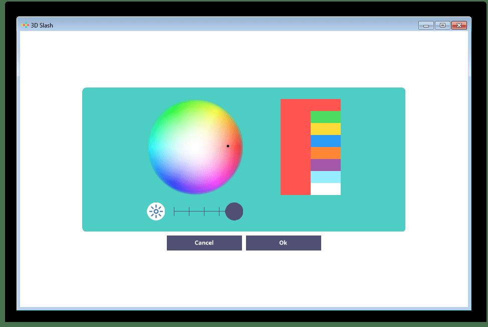 Настройка палитры цвета в 3D Slash