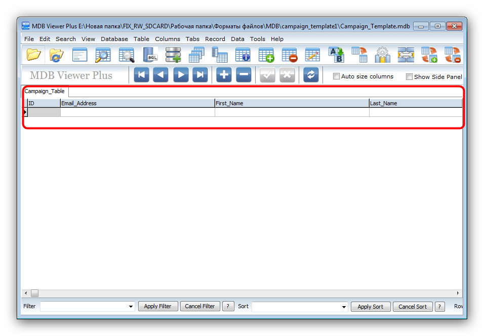 Открытый MDB-файл в MDB Viewer Plus