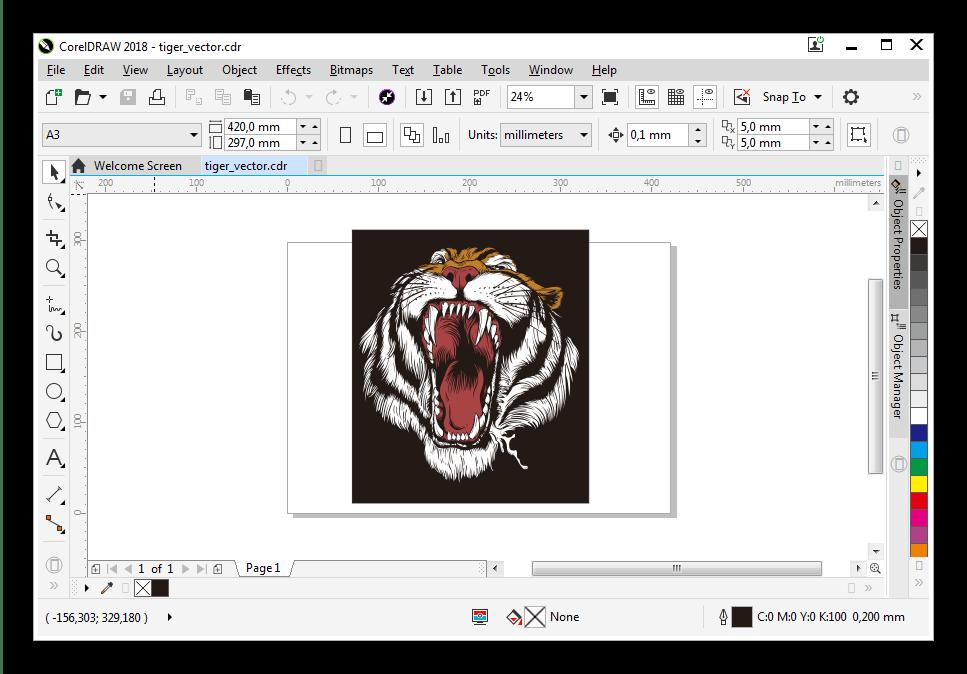 Открытый в CorelDRAW файл CDR